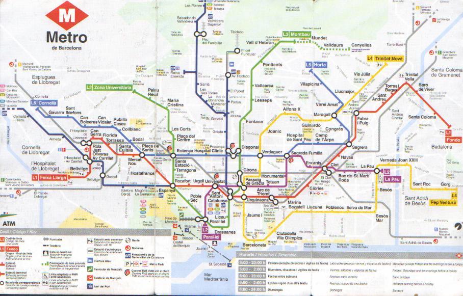 Схема метро г. Барселона